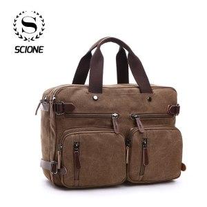 Scione Men Canvas Bag Leather Briefcase Travel Suitcase Messenger Shoulder Tote Back Handbag Large Casual Business Innrech Market.com