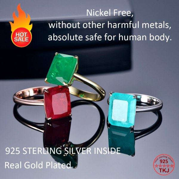 TKJ Real 925 Silver Ring Square Ruby and Emerald Ring Wedding Engagement Rings For Women Fine 1 TKJ Real 925 Silver Ring Square Ruby and Emerald Ring Wedding Engagement Rings For Women Fine Jewelry Accessories Gifts