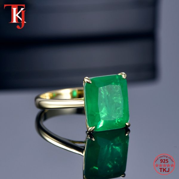 TKJ Real 925 Silver Ring Square Ruby and Emerald Ring Wedding Engagement Rings For Women Fine 2 TKJ Real 925 Silver Ring Square Ruby and Emerald Ring Wedding Engagement Rings For Women Fine Jewelry Accessories Gifts