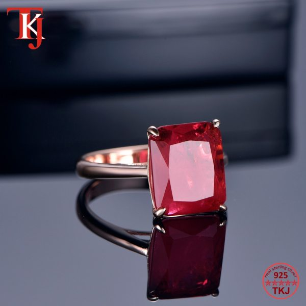 TKJ Real 925 Silver Ring Square Ruby and Emerald Ring Wedding Engagement Rings For Women Fine 3 TKJ Real 925 Silver Ring Square Ruby and Emerald Ring Wedding Engagement Rings For Women Fine Jewelry Accessories Gifts