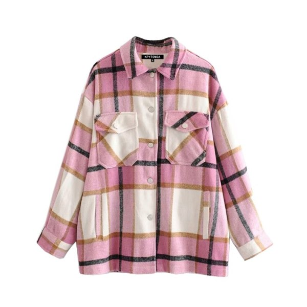 Vintage Stylish Pockets Oversized Plaid Jacket Coat Women 2019 Fashion Lapel Collar Long Sleeve Loose Outerwear 1 Vintage Stylish Pockets Oversized Plaid Jacket Coat Women 2019 Fashion Lapel Collar Long Sleeve Loose Outerwear Chic Tops