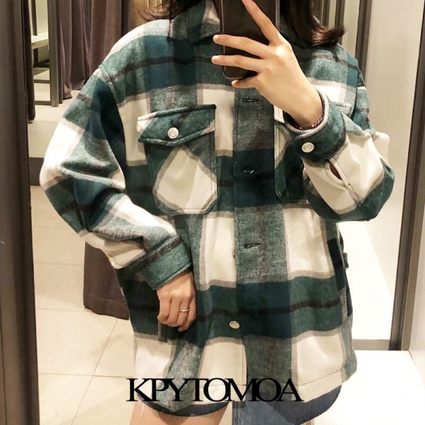 Vintage Stylish Pockets Oversized Plaid Jacket Coat Women 2019 Fashion Lapel Collar Long Sleeve Loose Outerwear 5 Vintage Stylish Pockets Oversized Plaid Jacket Coat Women 2019 Fashion Lapel Collar Long Sleeve Loose Outerwear Chic Tops