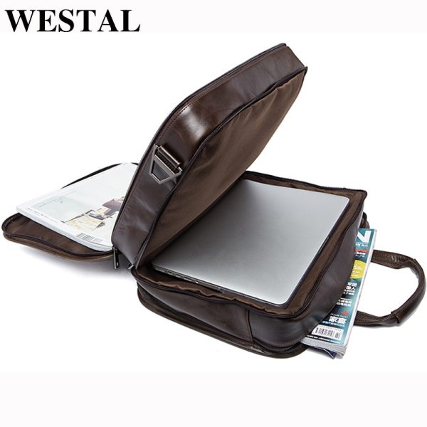 WESTAL men s genuine leather bag for men s briefcase office bags for men leather laptop WESTAL men's genuine leather bag for men's briefcase office bags for men leather laptop bag document business briefcase handbag