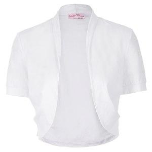 Women Ladies tops Short Sleeve solid color Pleated Sides Cotton Shrug Bolero for wedding party elegant Innrech Market.com