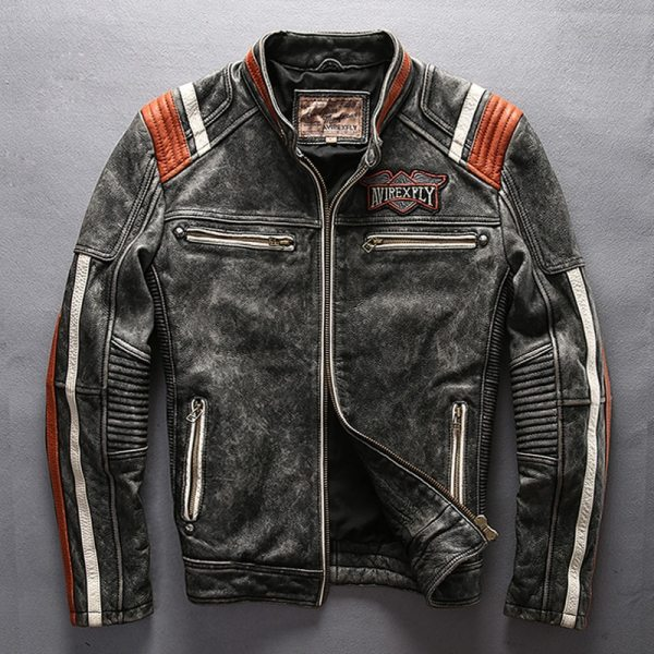 2019 Men Motorcycle Rider Jacket Genuine Leather Vintage Coat Stand Collar Embroidery Cowhide Leather Jacket DHL 2019 Men Motorcycle Rider Jacket Genuine Leather Vintage Coat Stand Collar Embroidery Cowhide Leather Jacket DHL Free Shipping