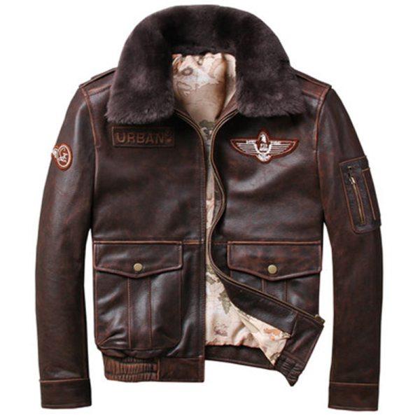 2019 Vintage Men s G1 Air Force Pilot Jackets Genuine Leather Cowhide Jacket Plus Size 5XL 2019 Vintage Men's G1 Air Force Pilot Jackets Genuine Leather Cowhide Jacket Plus Size 5XL Fur Collar Winter Coat for Male