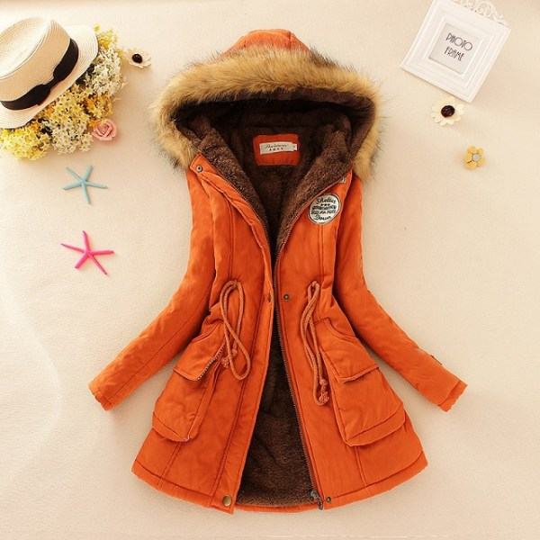 2019 Winter New Women s Hooded Fur Collar Waist And Velvet Thick Warm Long Cotton Coat 4 2019 Winter New Women's Hooded Fur Collar Waist And Velvet Thick Warm Long Cotton Coat Jacket Coat