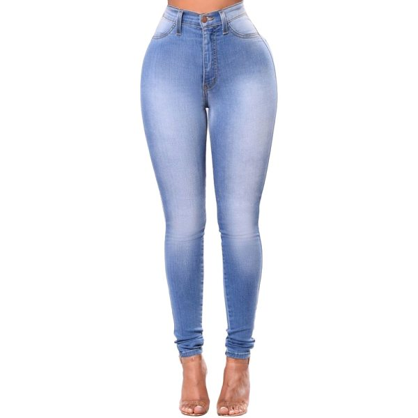 High Quality Fashion Women High Waist Elastic Skinny Jeans Slim Fit Washed Denim Cowboy Streetwear Long 3 High Quality Fashion Women High Waist Elastic Skinny Jeans Slim Fit Washed Denim Cowboy Streetwear Long Pencil Pants Trousers