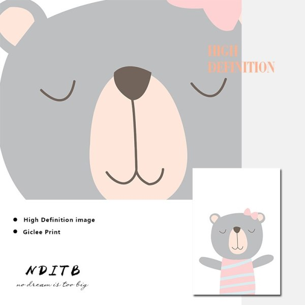 NDITB Cartoon Animal Canvas Painting Nursery Prints Personal Name Custom Poster Wall Picture Nordic Baby Girl 4 NDITB Cartoon Animal Canvas Painting Nursery Prints Personal Name Custom Poster Wall Picture Nordic Baby Girl Room Decoration