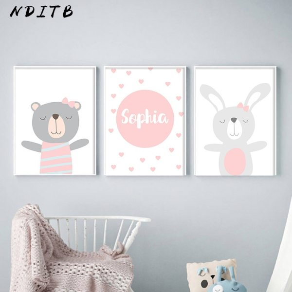 NDITB Cartoon Animal Canvas Painting Nursery Prints Personal Name Custom Poster Wall Picture Nordic Baby Girl NDITB Cartoon Animal Canvas Painting Nursery Prints Personal Name Custom Poster Wall Picture Nordic Baby Girl Room Decoration