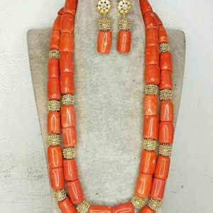 Quality Real Coral Beads Bridal Necklace Bracelet Earrings Set 24 inches Long Necklace Nigerian Wedding Coral Innrech Market.com