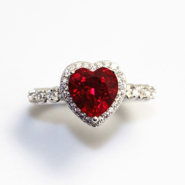 Red Ruby Heart Shape Gemstone Sterling 925 Silver Wedding Rings For Women Bridal Fine Jewelry Engagement 2 Red Ruby Heart Shape Gemstone Sterling 925 Silver Wedding Rings For Women Bridal Fine Jewelry Engagement Bague Accessories