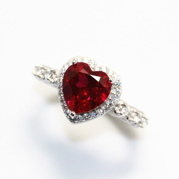 Red Ruby Heart Shape Gemstone Sterling 925 Silver Wedding Rings For Women Bridal Fine Jewelry Engagement 3 Red Ruby Heart Shape Gemstone Sterling 925 Silver Wedding Rings For Women Bridal Fine Jewelry Engagement Bague Accessories