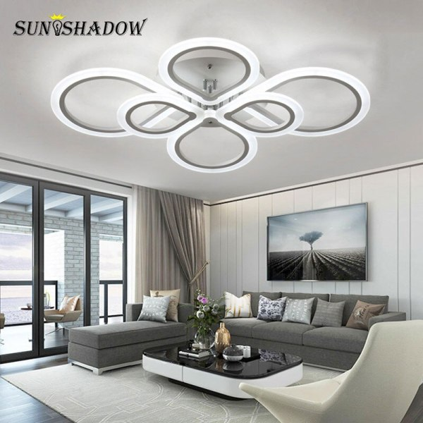 Rings Modern Led Ceiling Light For Living room Bedroom Luminaires Black White Acrylic Surface Mounted Chandelier 2 Lamps Plus Chandeliers | Crystal Ceiling Lights | Rings Modern Led Ceiling Light For Living room Bedroom Luminaires Black White Acrylic Surface Mounted Chandelier Ceiling Lamps 001