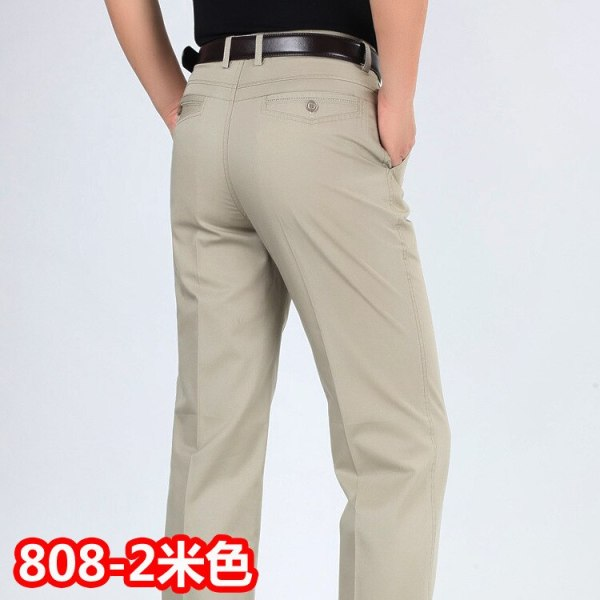 Summer style thin men s casual pants high waist cotton men loose straight long suits pants 1 Summer style thin men's casual pants high waist cotton men loose straight long suits pants middle-aged Business leisure trousers