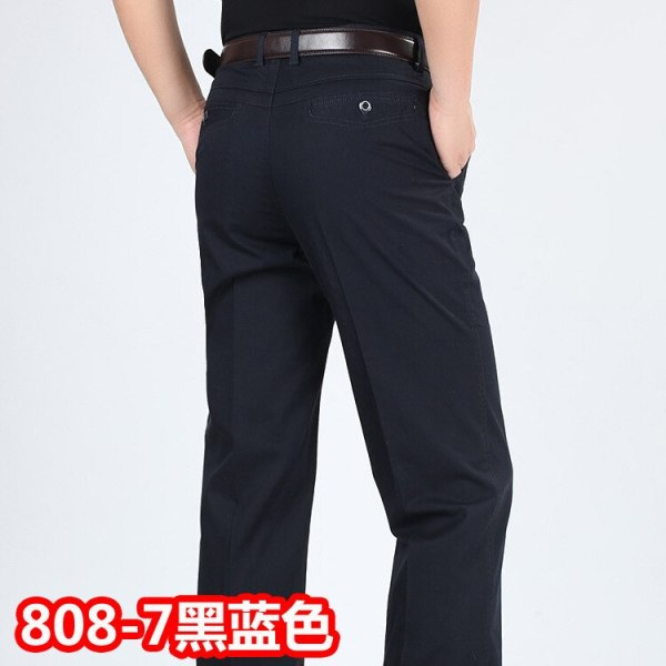 Summer style thin men s casual pants high waist cotton men loose straight long suits pants 3 Summer style thin men's casual pants high waist cotton men loose straight long suits pants middle-aged Business leisure trousers