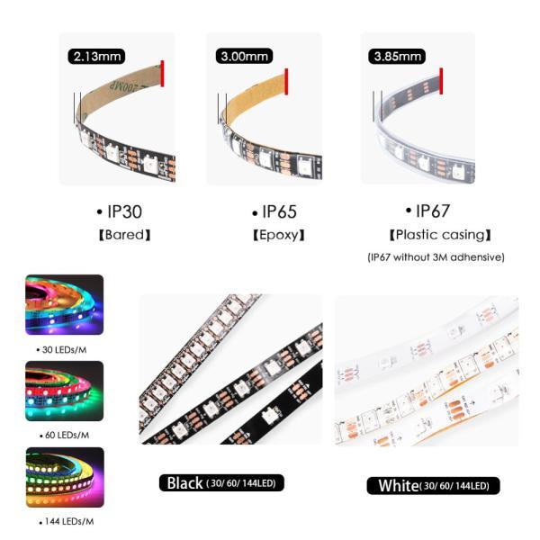 WS2812B DC 5V LED Strip RGB 50CM 1M 2M 3M 4M 5M 30 60 144 LEDs 2 WS2812B DC 5V LED Strip RGB 50CM 1M 2M 3M 4M 5M 30/60/144 LEDs Smart Addressable Pixel Black White PCB WS2812 IC 17Key Bar