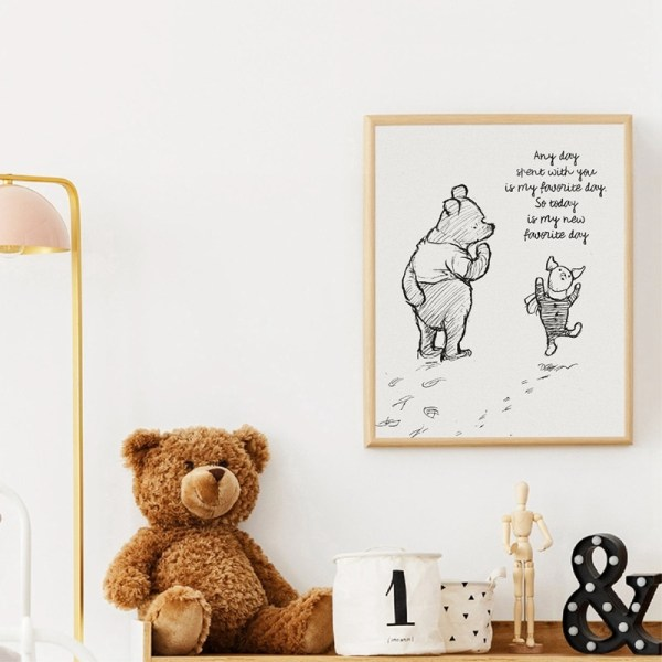 Winnie The Pooh Quotes Canvas Posters and Prints Classic Cartoon Movie Art Painting Black White Picture 2 Winnie The Pooh Quotes Canvas Posters and Prints Classic Cartoon Movie Art Painting Black White Picture Kids Room Wall Art Decor