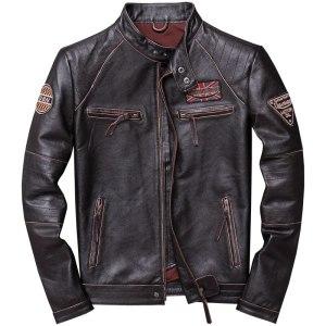 2019 Vintage Brown Men Slim Fit Motorcycle Leather Jacket Plus Size XXXXL Genuine Cowhide Spring Biker Innrech Market.com