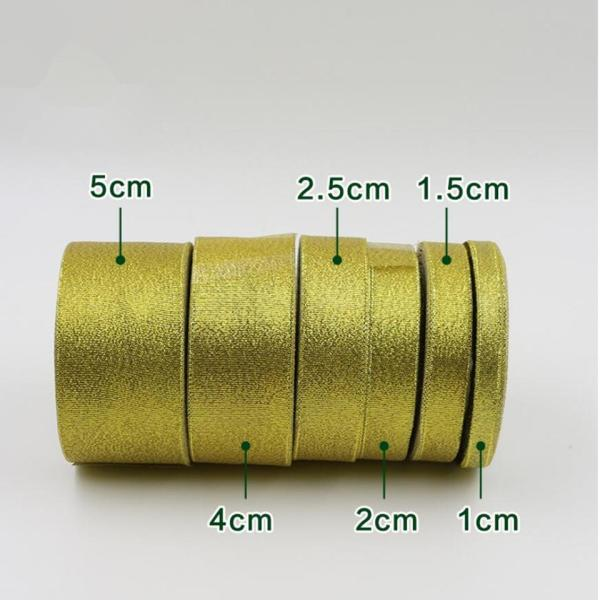 Gold silver ribbon 25 yards 22M metal shiny For wedding party Christmas decoration DIY craft cake 1 Gold silver ribbon 25 yards 22M metal shiny For wedding party Christmas decoration DIY craft cake gift bow packaging ribbon