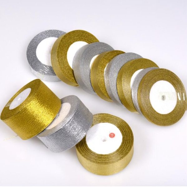 Gold silver ribbon 25 yards 22M metal shiny For wedding party Christmas decoration DIY craft cake Gold silver ribbon 25 yards 22M metal shiny For wedding party Christmas decoration DIY craft cake gift bow packaging ribbon