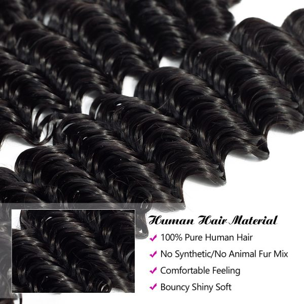 Hermosa Brazilian Deep Wave Bundles With Closure Double Weft Non Remy Human Hair Bundles With Closure 2 Hermosa Brazilian Deep Wave Bundles With Closure Double Weft Non-Remy Human Hair Bundles With Closure Natural Black Middle Ratio
