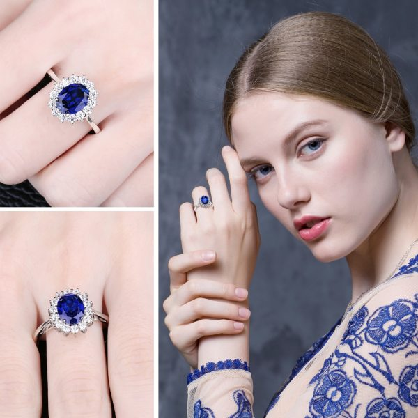 JewPalace Princess Diana Created Sapphire Ring 925 Sterling Silver Rings for Women Engagement Ring Silver 925 2 JewPalace Princess Diana Created Sapphire Ring 925 Sterling Silver Rings for Women Engagement Ring Silver 925 Gemstones Jewelry