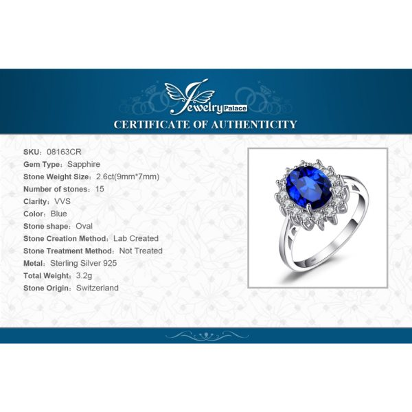 JewPalace Princess Diana Created Sapphire Ring 925 Sterling Silver Rings for Women Engagement Ring Silver 925 5 JewPalace Princess Diana Created Sapphire Ring 925 Sterling Silver Rings for Women Engagement Ring Silver 925 Gemstones Jewelry