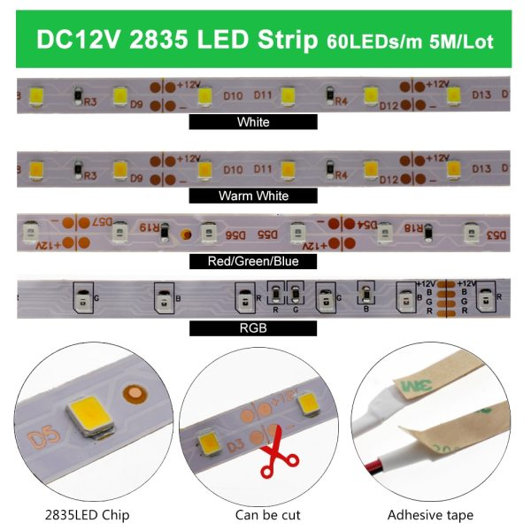 LED Strip 5050 2835 DC12V Flexible LED Light Tape 60LEDs M White Warm White Blue Green 2 LED Strip 5050 2835 DC12V Flexible LED Light Tape 60LEDs/M White / Warm White / Blue / Green / Red Waterproof RGB LED Strip 5M