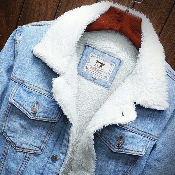 Men Light Blue Winter Jean Jackets Outerwear Warm Denim Coats New Men Large Size Wool Liner 4 Men Light Blue Winter Jean Jackets Outerwear Warm Denim Coats New Men Large Size Wool Liner Thicker Winter Denim Jackets Size6XL