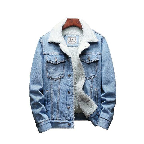 Men Light Blue Winter Jean Jackets Outerwear Warm Denim Coats New Men Large Size Wool Liner 5 Men Light Blue Winter Jean Jackets Outerwear Warm Denim Coats New Men Large Size Wool Liner Thicker Winter Denim Jackets Size6XL