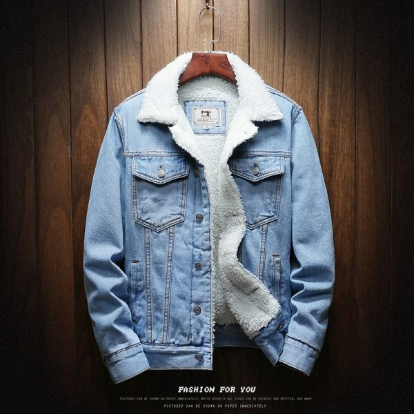 Men Light Blue Winter Jean Jackets Outerwear Warm Denim Coats New Men Large Size Wool Liner Men Light Blue Winter Jean Jackets Outerwear Warm Denim Coats New Men Large Size Wool Liner Thicker Winter Denim Jackets Size6XL