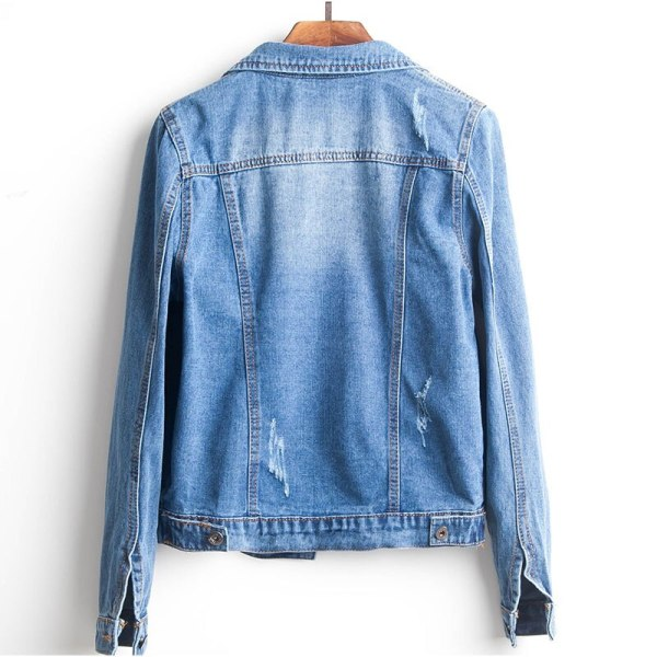 Plus Size Ripped Hole Cropped Jean Jacket 4Xl 5Xl Light Blue Bomber Short Denim Jackets Jaqueta 2 Plus Size Ripped Hole Cropped Jean Jacket 4Xl 5Xl Light Blue Bomber Short Denim Jackets Jaqueta Long Sleeve Casual Jeans Coat