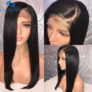 Sapphire 4x4 Lace Closure Wig Straight Pre Plucked 100 Human Hair Wigs Bleached Knots Brazilian Lace Innrech Market.com