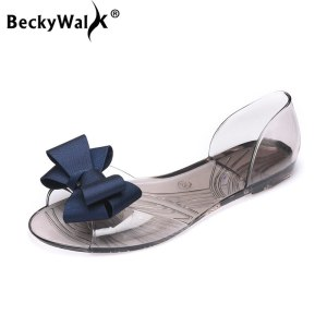 Women Sandals Open Toe Summer Jelly Shoes Woman Fashion Butterfly knot Flat Sandals Women Beach Shoes Innrech Market.com