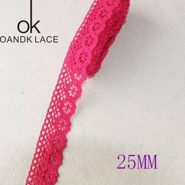 5 yard25MM Cotton lace fabric for home decoration Garment accessories Home textile materials DIY manual dentelleRose 5 5 yard25MM Cotton lace fabric for home decoration Garment accessories Home textile materials DIY manual dentelleRose and Pink