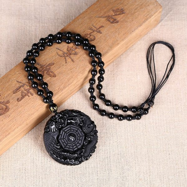 Black Obsidian Carving Dragon and Phoenix Necklace Pendant Obsidian Lucky Pendants 2 Black Obsidian Carving Dragon and Phoenix Necklace Pendant Obsidian Lucky Pendants