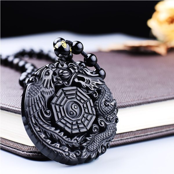 Black Obsidian Carving Dragon and Phoenix Necklace Pendant Obsidian Lucky Pendants 3 Black Obsidian Carving Dragon and Phoenix Necklace Pendant Obsidian Lucky Pendants
