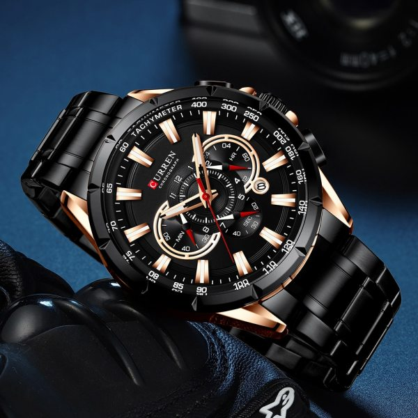 CURREN Wrist Watch Men Waterproof Chronograph Military Army Stainless Steel Male Clock Top Brand Luxury Man 5 CURREN Wrist Watch Men Waterproof Chronograph Military Army Stainless Steel Male Clock Top Brand Luxury Man Sport Watches 8363