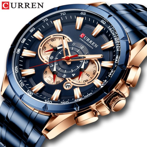 CURREN Wrist Watch Men Waterproof Chronograph Military Army Stainless Steel Male Clock Top Brand Luxury Man CURREN Wrist Watch Men Waterproof Chronograph Military Army Stainless Steel Male Clock Top Brand Luxury Man Sport Watches 8363