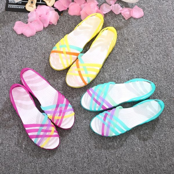 MCCKLE Women Jelly Shoes Rainbow Summer Sandals Female Flat Shoes Ladies Slip On Woman Candy Color 4 MCCKLE Women Jelly Shoes Rainbow Summer Sandals Female Flat Shoes Ladies Slip On Woman Candy Color Peep Toe Women's Beach Shoes