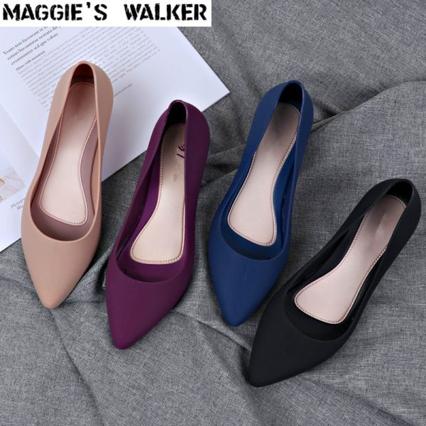 Maggie s Walker Beach Shoes Women Jelly Sandals Summer Pointed toe Slip on Resin Wedges Sandals Maggie's Walker Beach Shoes Women Jelly Sandals Summer Pointed-toe Slip-on Resin Wedges Sandals Rain Shoes Size 36~40
