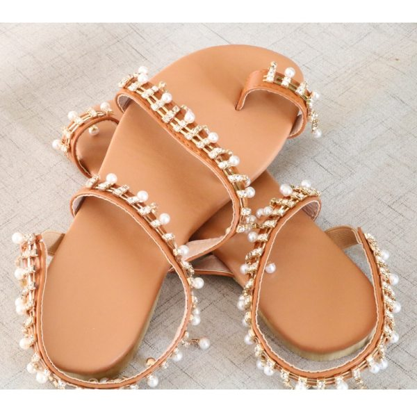 Women sandals summer shoes flat pearl sandals comfortable string bead slippers women casual sandals size 34 3 Women sandals summer shoes flat pearl sandals comfortable string bead slippers women casual sandals size 34 - 43