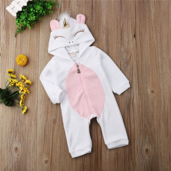 Emmababy Baby Girl 3D Unicorn Flannel Rompers Fashion ropa bebe girls Cartoon Hooded warm zipper Jumpsuit 5 Emmababy Baby Girl 3D Unicorn Flannel Rompers Fashion ropa bebe girls Cartoon Hooded warm zipper Jumpsuit Newborn Romper Clothes