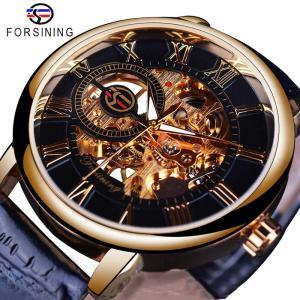 Forsining Men Watches Top Brand Luxury Mechanical Skeleton Watch Black Golden 3D Literal Design Roman Number Innrech Market.com