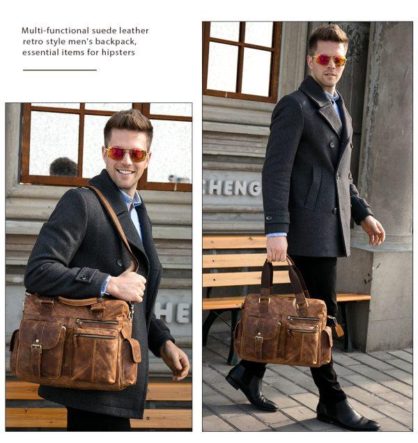 MVA Genuine Leather Men s Briefcase Messenger Bag Men s Leather Laptop Bag For men Office 1 MVA Genuine Leather Men's Briefcase Messenger Bag Men's Leather Laptop Bag For men Office Bags For Men Briefcase Handbags 8537