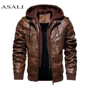 Men Hooded Jacket And Coat Autumn Winter Warm Casual Leather Jackets PU Coats Slim Fit Outerwear Innrech Market.com