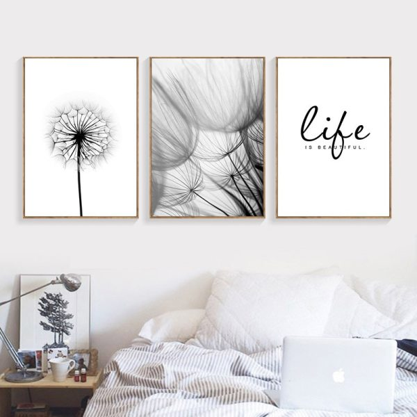 Nordic Dandelion Art Canvas Painting Posters And Prints Black White Loves Life Quotes Wall Pictures For 3 Nordic Dandelion Art Canvas Painting Posters And Prints Black White Loves Life Quotes Wall Pictures For Living Room Decor AL133