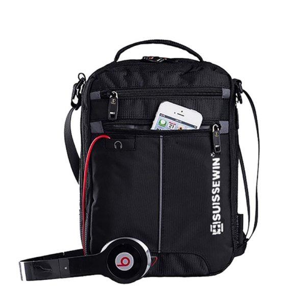 "Swiss Shoulder Bag Leisure Briefcase Small Messenger Bag for 9 7 11 Tablets and Documents Men Swiss Shoulder Bag Leisure Briefcase Small Messenger Bag for 9.7"" 11""Tablets and Documents Men's Black Handbag crossbody bag"