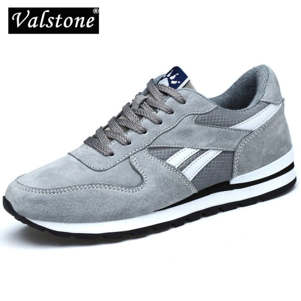 Valstone Genuine leather sneaker for Men Spring casual shoes Breathable outdoor walking shoes light weight Rubber Valstone Genuine leather sneaker for Men Spring casual shoes Breathable outdoor walking shoes light weight Rubber sole Grey Blue